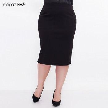 5XL 6XL 2019 kobiety Sexy moda lato spódnica OL wysokiej talii Plus rozmiar Bodycon spódnica ołówkowa szczupła elegancka na co dzień spódnice czarny saias