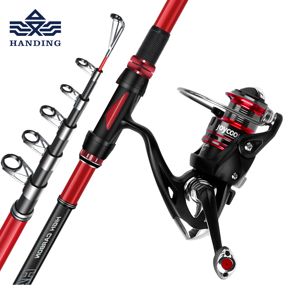 Handing telescopic sea Fishing Rod+reel Full Kit combo High Carbon fiber surf casting rod Super Hard Fishing pole Spinning rod цена
