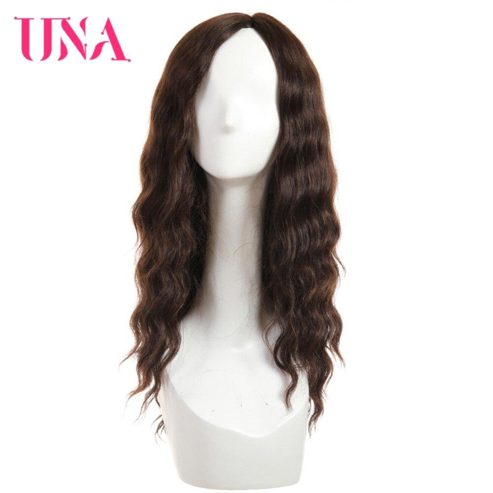 UNA Human Hair Wigs For Women Long Deep Wave T Part Lace Hair Wigs 120% Density Human Hair Wigs Non-Remy Malaysian Hair Wigs 18