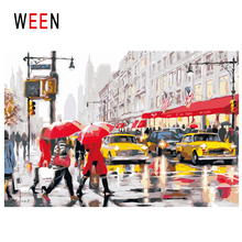 WEEN Walk Street Diy Painting By Numbers Abstract Traffic Light Oil On Canvas Car Cuadros Decoracion Acrylic Wall Art