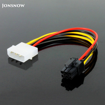 JONSNOW  6 Pin Male to 4 Pin Molex Female PCI-Express Graphics Card Power Adapter Cable Extension Cable Connector Power 6 inch 2 x molex 4 pin to 8 pin pci express video card pci e atx psu power converter cable molex to pcie 8 pin adapter