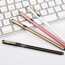 Kawaii Металл гелевая ручка 0.5 мм черные чернила школьные ручки для написания подарок для детей корейский Канцелярские Бесплатная доставка