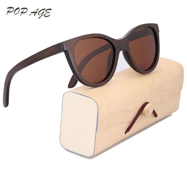 f40c1fe17b POP AGE Cateye Wood Bamboo Sunglasses Women Polarized Heart Shaped Sun  Glasses for Women Brand Sunglasses Glasses Eyewear GB050