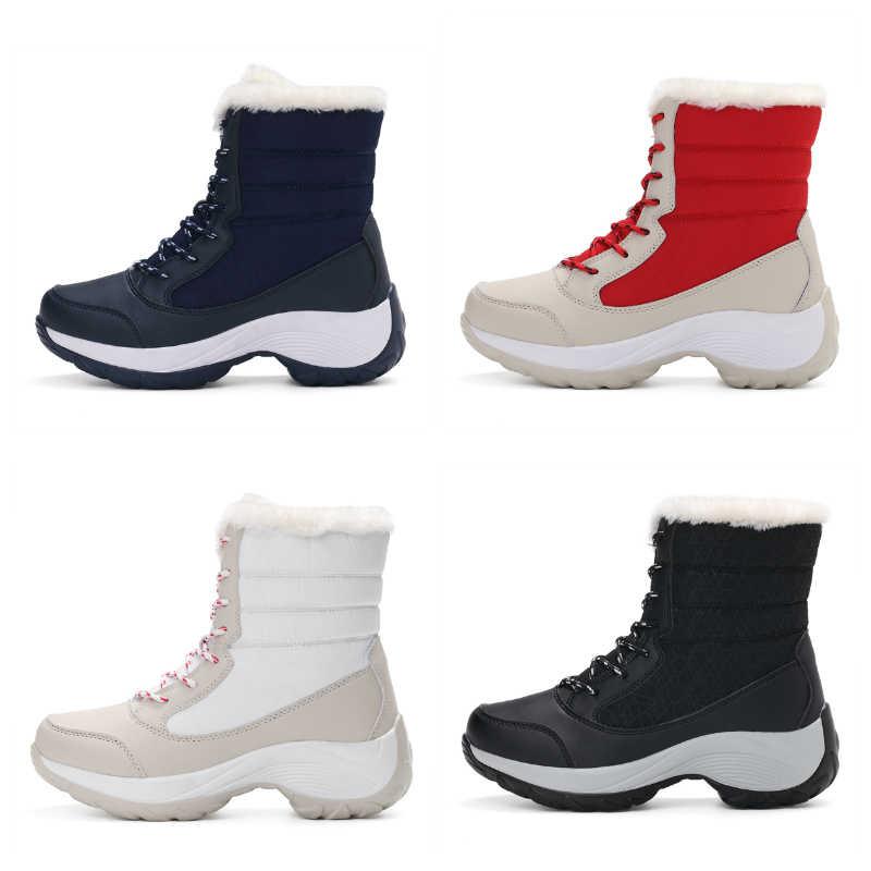 STQ 2020 kış kadın kar botları orta buzağı Platform yarım çizmeler kadınlar yüksek sıcak kürk peluş yağmur çizmeleri kadınlar için yürüyüş botları 1617