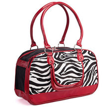 Zebra Luxury Pet Carrier Bag Dog Travel Bag For Small Puppy Breeds Animal Casual PU Designer Shoulder Transportion Carrying Bags(China)