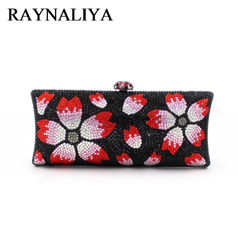 Cute Women Handbag Black Flower Pattern Clutch Bags Ladies Hand Bag Handmade Wedding Day Clutch Evening Beaded Bags ZH-A0334