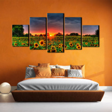 Oil painting mural art oil living room picture poster canvas 5 pieces pastoral landscape stitching