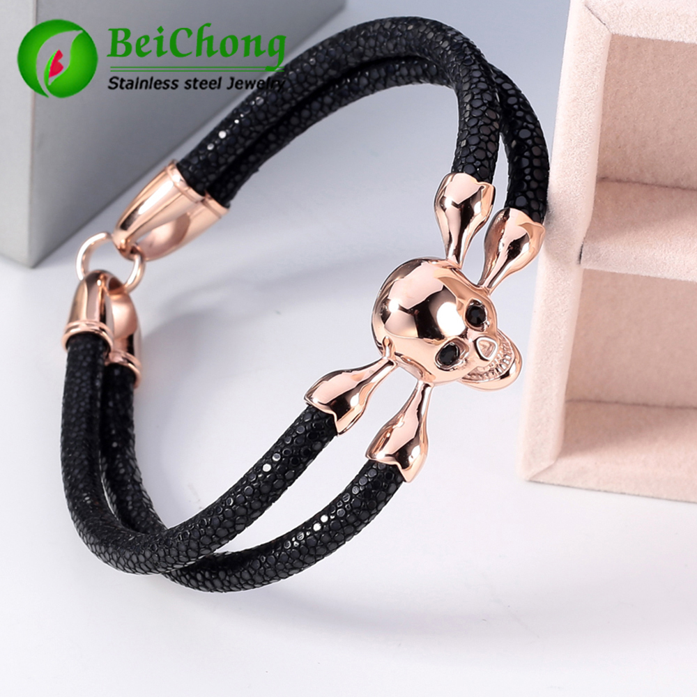 Fashion Jewelry Men's Bracelet Black Stingray Bracelet Men Genuine Leather Stingray Bracelet Skull Bracelet Men все цены