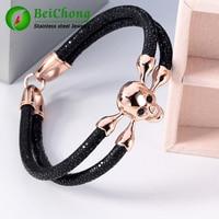 Fashion Jewelry Men's Bracelet Black Stingray Bracelet Men Genuine Leather Stingray Bracelet Skull Bracelet Men