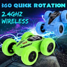 2,4G RC coche neumático grande Cool tumbling 360 grados Drift Deformation Buggy coche Rock orugas rollo coche con LED brillante(China)