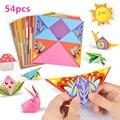 54 pçs 14 cm animais dos desenhos animados casa origami papel crianças diy artesanato duplo face criatividade para crianças origami ano novo natal presentes