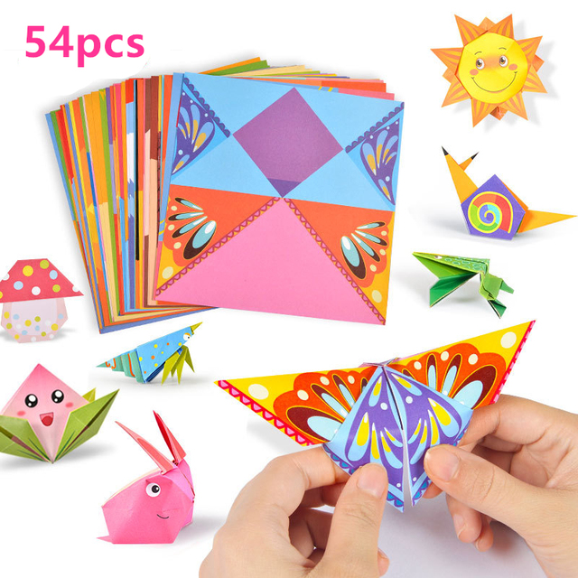 54pcs 14cm Cartoon Animal Home Origami Paper Kids Diy Craft Paper