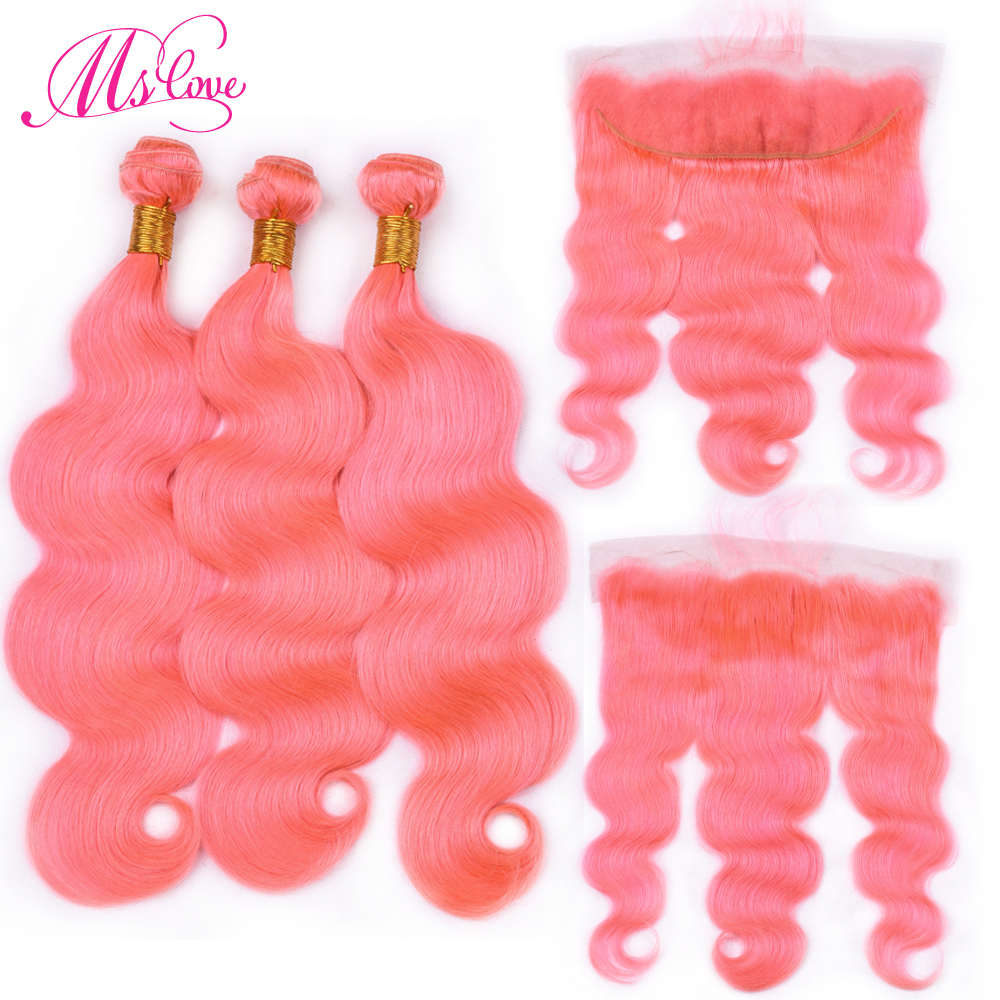 Ms Love Pre Colored Rose Pink Bundles With Lace Frontal Closure Body Wave Remy  Peruvian Human Hair With Lace Frontal 13*4 inch