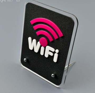 Basic Navy Premium Acrylic Sign CGSignLab 16x16 Free WiFi