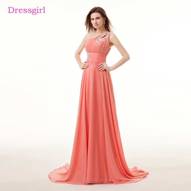 Coral Evening Dresses 2018 A line One shoulder Chiffon Lace Beaded ...