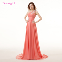 Coral Evening Dresses 2018 A Line One Shoulder Chiffon Lace Beaded Elegant Women Long Evening Gown