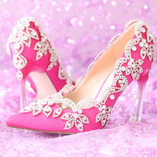 Gorgeous Pointed Toe High Quality Satin Wedding Shoes Rhienstone Elegant Fuchsia Color Prom Dress Shoes Banquet Pumps