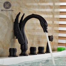 Creative Swan Shape Bathtub Mixer Faucet Deck Mount Widespread Roman Tub  Faucet With Handheld Shower Three