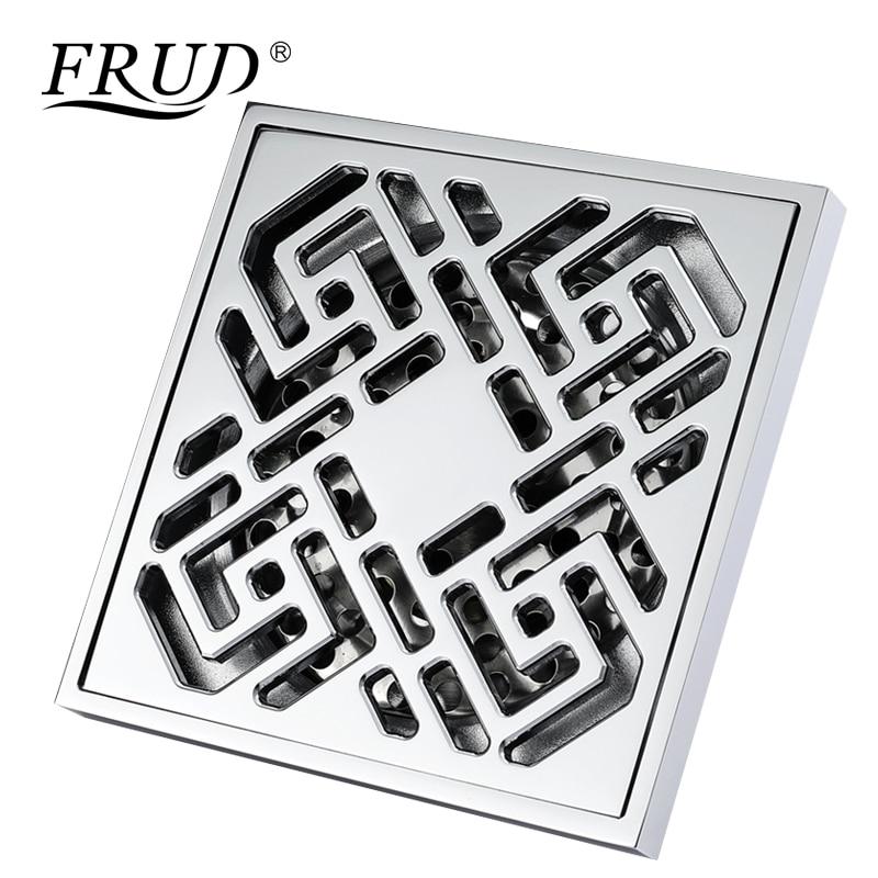Frud Bathroom Accessory Square Floor Drain Shower Waste Water Strainer Bathroom Floor Drains Cover Drainer Anti Smelly Y38109
