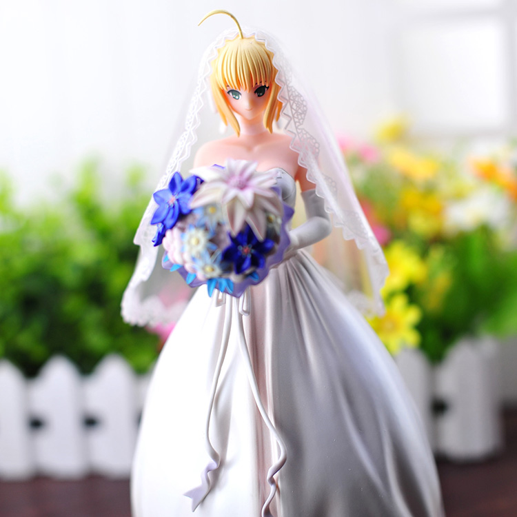 ФОТО Fate stay night Saber Lily 10th Anniversary Wedding Dress Regal Robes PVC Action Figure Collectible Model Gift Toy 25cm KT408