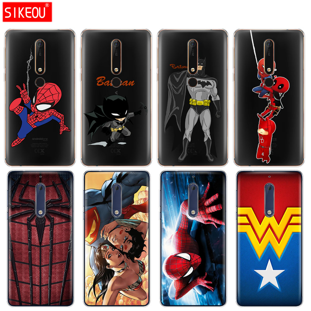 silicone cover phone case for Nokia 5 3 6 7 PLUS 8 9 /Nokia 6.1 5.1 3.1 2.1 6 2018 hero Superman Batman SpiderMan Wonder Woman