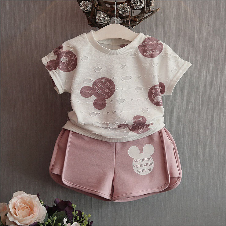 2017 Summer Girls Casual Clothes Set Children Short Sleeve Cartoon Hole T-shirt Shorts Sport Suits Girl Clothing Sets for Kids