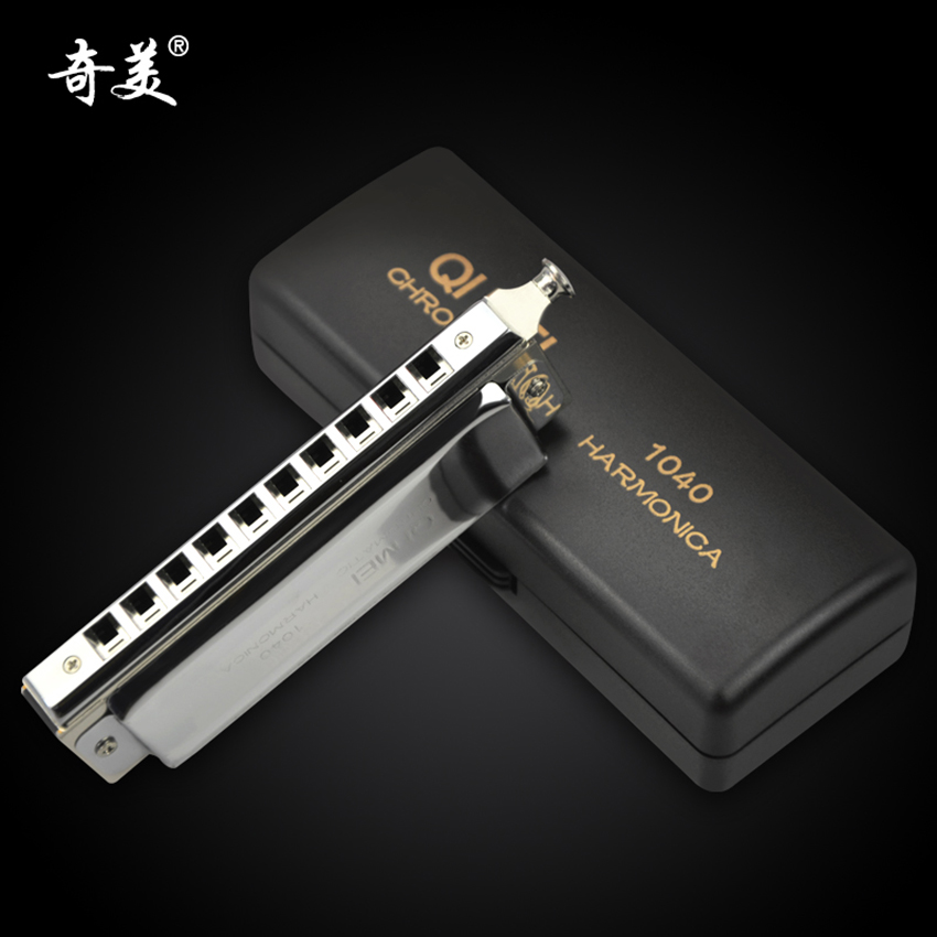 Quality Chromatic Harmonica 10 Holes/40 Tones Sliver Professional Wind Instrument Mouth Organ QIMEI Musical Instruments Gifts