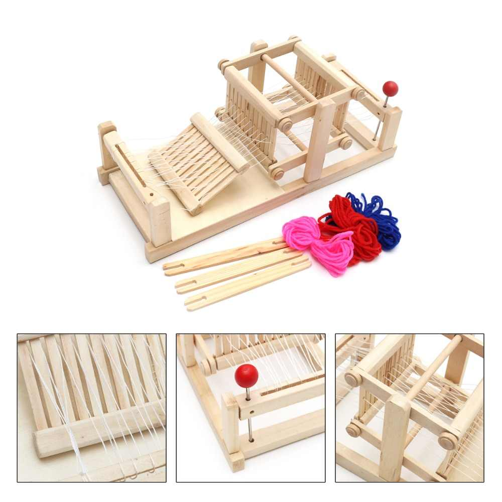 Pretend Play Toys Wooden Chinese Traditional Wooden Table Weaving Loom Machine Model diy Hand Craft Toy Gift For Children Adult