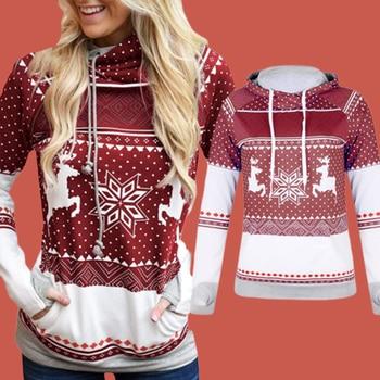 Thumb Holes Hoodies Raglan Sleeve Reindeer Sweatshirt Poleron Mujer 2019 Snowflake Hoodie Women Kangaroo Pocket Hoodie Christmas elk snowflake geometric print christmas hoodie