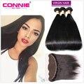 7A Peruvian Virgin Hair With Frontal Closure Straight 13*4 Ear to Ear Lace Frontal Closure with 3 Bundles Peruvian Straight Hair