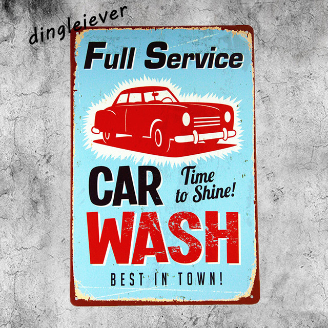 Full Service Car Wash Vintage Metal Sign Home Decor Hot Rod Posters Antique Tray Garage Signs