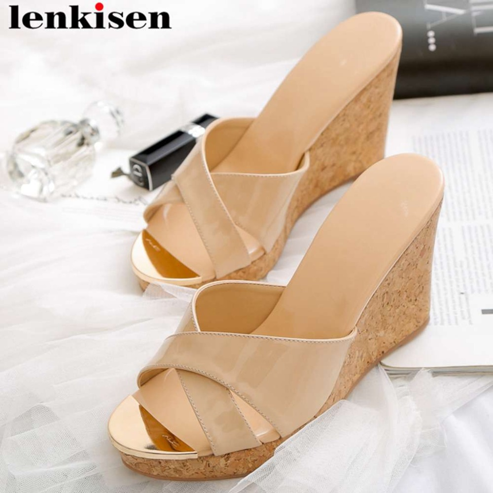 Lenkisen hot selling genuine leather wedges super high bottom peep toe slip on women sandals modern
