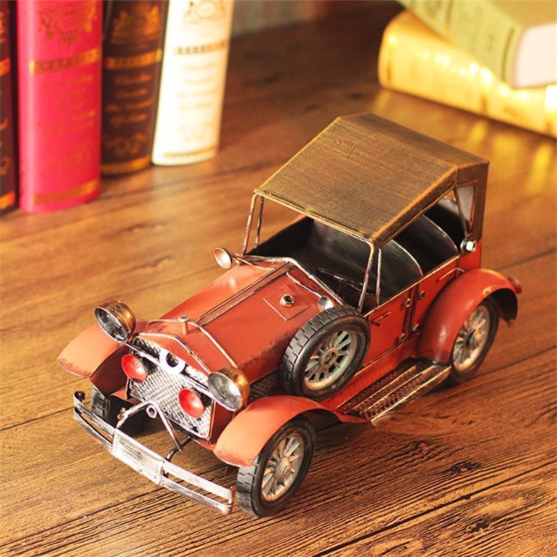Européen classique voiture modèle Miniatures maison bureau ornements rétro Vintage fer métal voiture Figurines nostalgique décoration artisanat - 4