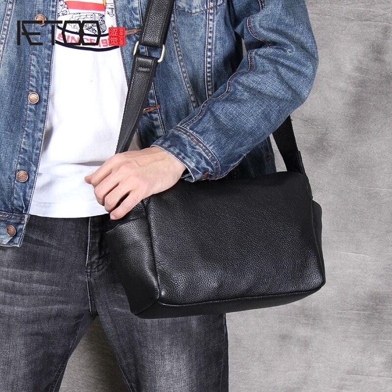 AETOO Simple Practical Head Cowhide Single Shoulder Crossbody Bag Casual Leather Male Bag