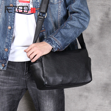 AETOO basit pratik kafa inek derisi tek omuz crossbody çanta rahat deri erkek çantası