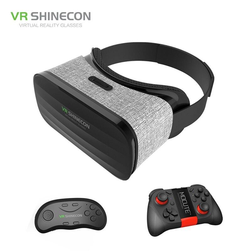 Shinecon VR brýle 3D pohlcující virtuální realita Box lepenkové nositelný VR Box Headset pro 4,3-6,0 palcový Smartphone + Controller