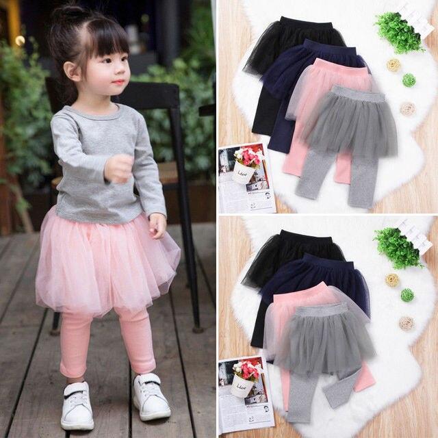 4078a68686448 Baby Kids Girl Pants Lace Tutu Leggings Pants Culotte New Fashion Children  Clothes Long Trousers