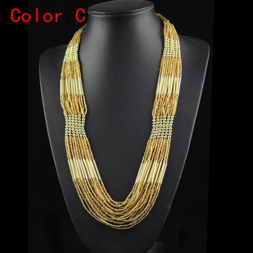 Fashion Bohemian Style Multi-layers Beaded Chains Necklace Seed Beads Necklace Strands Handmade Long Chains Necklace Nl-655