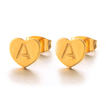 New Fashion Cute Heart 26 Letter Gold stainless steel Stud Earring Set Minimalist Earring for Women Gift Jewelry Wholesale 2019 4