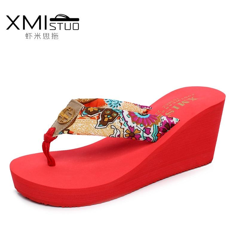 XMISTUO Brand Women Fashion Summer Logo Sandals Wedges Flip Flops Platform Slippers Shoes slippers zapatillas chinelo sandalia