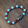Nova Moda Tibete Pulseira 21 olho Dzi Talão/Ágata/turquesa 30mm * 12mm Tamanho para senhora Pulseira Grande Qualidade Livre grátis