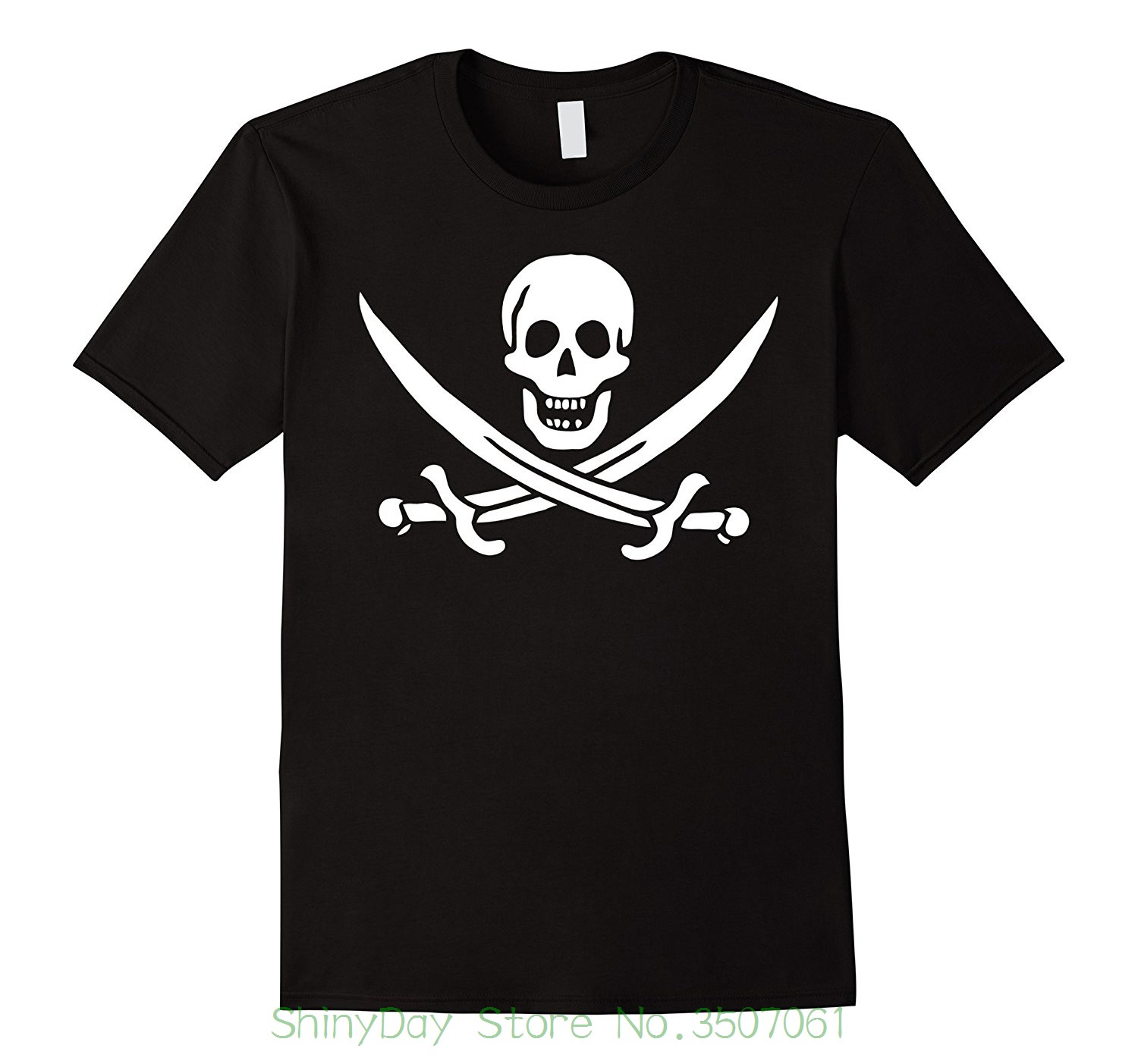 Loose Cotton T-shirts For Men Cool Tops T Shirts Calico Jack Pirate Flag T Shirt