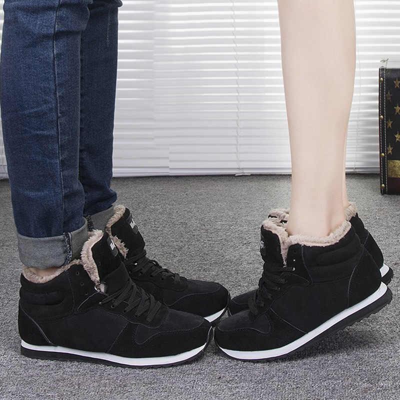 LAKESHI Warme Pelz Schnee Stiefel Mode Frauen Stiefel Lace-up Ankle Stiefel Frauen Arbeit Weibliche Schuhe Winter Schuhe Runde kappe Damen Schuhe
