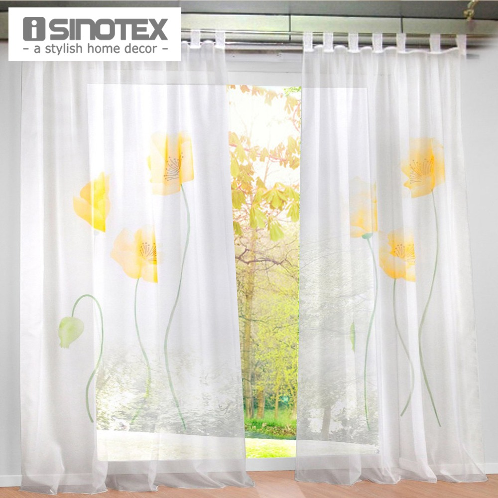 Buy new design floral printing sheer window curtain voile screening panel 1 pcs - Curtain new design ...