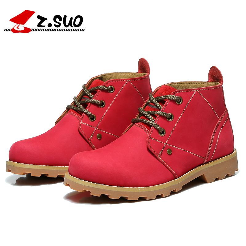 Z.Suo 2017 Brand Women Casual Ankle Boots Genuine Cow Leather England Tooling Work Safety Botas Female Outdoor Boots ZS9723