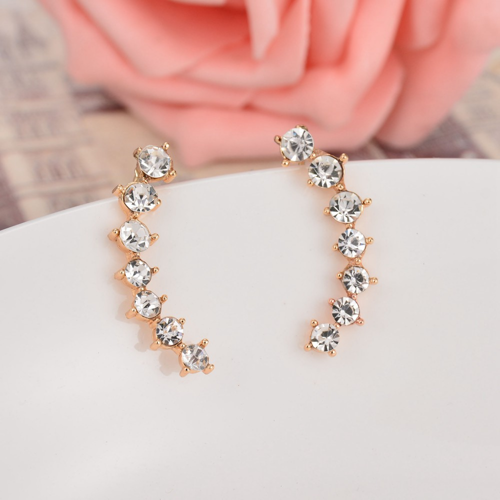 UAM Summer Fashion Jewelry AAA CZ Clip Earrings Simple Gold Color ...