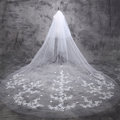 In Stcok 3.5 Meters Cathedral Wedding Veils with Crystal 3D Flower Lace Bridal Veils Voile Mariage Velos De Novia Veu De Noiva