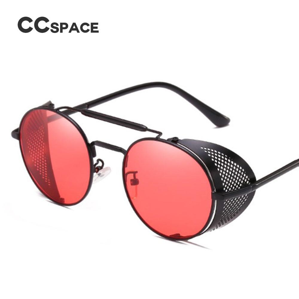 UnermüDlich Ccspace Steampunk Retro Runde Sonnenbrille Metallrahmen Männer Frauen Schwarz Rot Marke Brille Designer Mode Männlichen Weibliche Shades 45472 Stabile Konstruktion Herren-brillen Sonnenbrillen