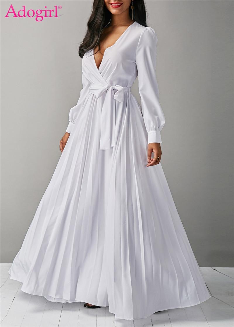 Aliexpress.com : Buy Adogirl White Maxi Pleated Dress Sexy ...