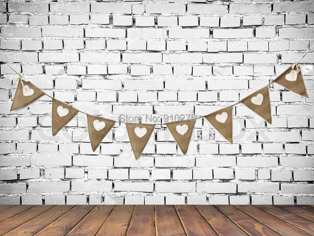 58 Feet Hessian Burlap Love Heart Wedding Bunting Banner Photo Props Rustic Bridal Shower Party Favor